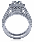 Montreux 1.5 Carat Round Pave Halo Cubic Zirconia Cathedral Wedding Set
