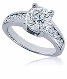 Natasha 2 Carat Round Cubic Zirconia Channel Set Solitaire Engagement Ring