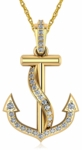 Nautical Anchor Cubic Zirconia Pave Set Pendant