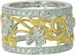 Nettleton Pave Set Round Cubic Zirconia Two Tone Floral Band