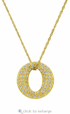 O Wreath Circle of Love Micro Pave Set Round Cubic Zirconia Pendant