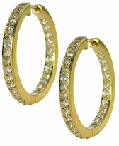Odellia Mid-Size Inside Out Cubic Zirconia Pave Hoop Earrings