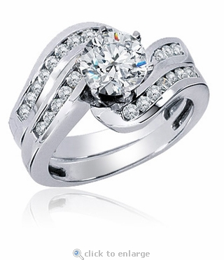 Odyssey Prong Set Round Cubic Zirconia Swirled Channel Set Wedding Set