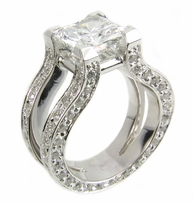 Omega Princess Cut Cubic Zirconia Split Shank Pave Solitaire Engagement Ring