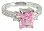 Ophelia 1.5 Carat Emerald Radiant Cut Lab Created Pink Cubic Zirconia Solitaire