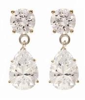 Oprah Style 2 Carat Pear Cubic Zirconia Tear Drop Earrings - Small
