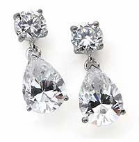 Oprah Style Pear Cubic Zirconia Tear Drop Earrings