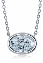 Oval Bezel Set Cubic Zirconia Horizontal Solitaire Pendants