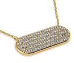 Oval Shape Pave Set Cubic Zirconia Disc Necklace