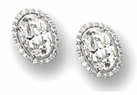 Ovanti 5.5 Carat Oval Cubic Zirconia Pave Halo Stud Earrings