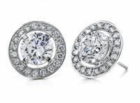 Parliament 1.25 Carat Round Cubic Zirconia Halo Pave Stud Earrings