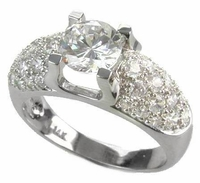 Pave Dome 1 Carat Round Cubic Zirconia Pave Solitaire Engagement Ring