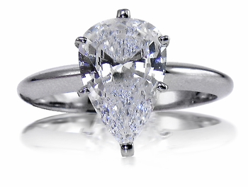 Pear Cubic Zirconia Classic Solitaire Engagement Rings