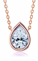 Pear Shape Bezel Set Cubic Zirconia Solitaire Pendants