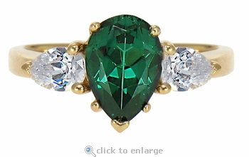 Pears Galore 2 Carat Pear Green Emerald Look With Pear CZ Sides Ring
