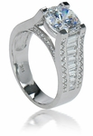 Peninsula 2.5 Round Cubic Zirconia Channel Set Baguette Micro Pave Engagement Ring Solitaire