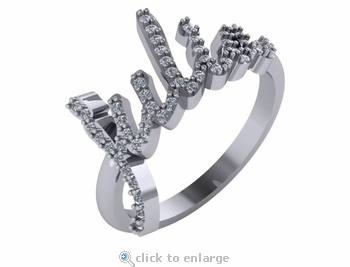 Personalized Pave Set Round Cubic Zirconia Name Ring