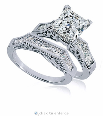 Pescara 1.5 Carat Princess Cut Cubic Zirconia Channel Set Engraved Wedding Set