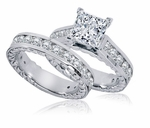 Phaidra Cathedral Princess Cut Cubic Zirconia Channel Set Round Engraved Wedding Set