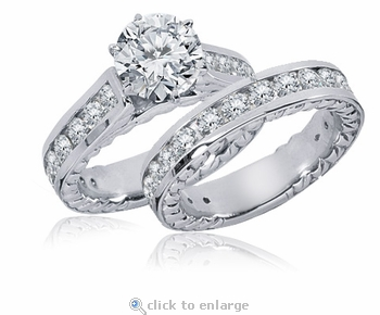 Phaidra Cathedral Round Prong Set Cubic Zirconia Channel Set Engraved Wedding Set