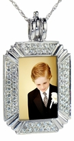 Picture Frame Pave Set Round Cubic Zirconia Pendant