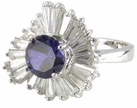Pinwheel Ballerina Cluster Simulated Man Made Sapphire 1.5 Carat Round and Cubic Zirconia Baguette Ring