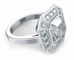 Pippa Middleton 4 Carat Asscher Cut Cubic Zirconia Pave Halo Engagement Ring Inspiration