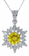 Pizzazz 2 Carat Round Canary Cubic Zirconia Marquise and Round Pendant