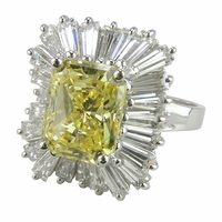 Primoroso 4 Carat Emerald Radiant Cut Canary Cubic Zirconia Baguette Cluster Ring