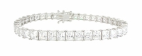 Princess Cut Square Cubic Zirconia Prong Set Tennis Bracelet