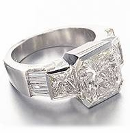 Princess Cut Times Three 1.5 Carat Semi Bezel Set Cubic Zirconia Baguette Solitaire Engagement Ring