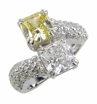Princess Duo 1.5 Carat Each Cubic Zirconia Princess Cut Two Stone Bypass Pave Solitaire Engagement Ring