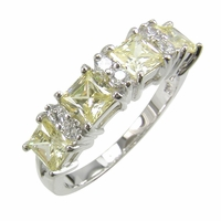 Promenade Princess Cut and Round Cubic Zirconia Canary Anniversary Band