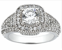 Quintana 1.5 Carat Round Cubic Zirconia Halo Pave Engagement Ring