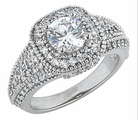 Quintana 1 Carat Round Cubic Zirconia Halo Pave Engagement Ring