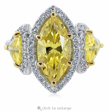 Lunel 3 Carat Canary Marquise Trillion Cubic Zirconia Pave Halo Three Stone Ring