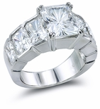 Radiance Galore 4 Carat Center Emerald Radiant Cut Bezel Set Ring
