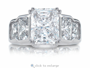 Radiance Mignon 2.5 Carat Radiant Emerald Cut Cubic Zirconia Graduated Solitaire Engagement Ring