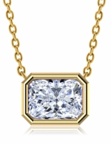 Radiant Emerald Cut Bezel Set Cubic Zirconia Horizontal Solitaire Pendants