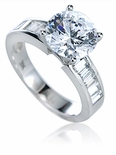 Ranier 3 Carat Round Cubic Zirconia Channel Set Baguette Solitaire Engagement Ring