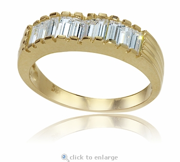 Ribbed Baguette Cubic Zirconia Anniversary Band