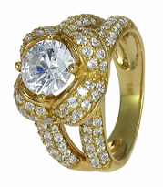 Ribbon 1.5 Carat Round Cubic Zirconia Pave Split Shank Engagement Ring