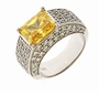 Ridley Emerald Cut Cubic Zirconia Pave Set Mens Ring