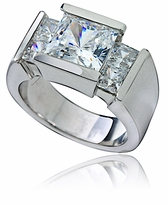 Ritz 2.5 Carat Princess Cut Channel Set Cubic Zirconia Solitaire Engagement Ring