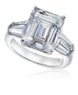 Rockdale 7 Carat Emerald Step Cut Cubic Zirconia Double Tapered Baguette Solitaire Engagement Ring