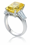 Rockdale 9 Carat Radiant Emerald Cut Double Tapered Baguette Cubic Zirconia Solitaire Engagement Ring