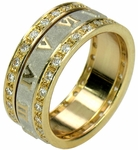 Roman Numeral Two Tone Spinning Pave Set Round Cubic Zirconia Eternity Band