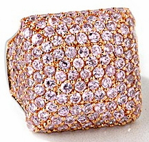 Rosetta Pave Set Round Pink Cubic Zirconia Rose Gold Square Ring
