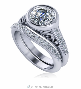 Rotunda 1.5 Carat Round Bezel Set Antique Estate Style Cathedral Solitaire and Curved Matching Band Cubic Zirconia Wedding Set