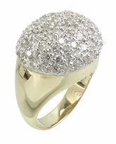 Rotunda Pave Set Round Cubic Zirconia Domed Two Tone Ring